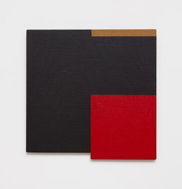 An irregularly-shaped abstract painting on linen. The painting is primarily black, with a vibrant red square in the lower right corner of the composition. A horizontal brown line at the top border divides the composition in half.