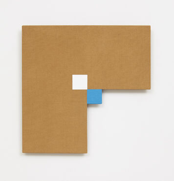 An abstract, hard-edged, painting on linen with a large rectangular cutout in the lower right edge. There is a small blue square inside the center corner of the cutout, and a small white square in the center of the composition that meets at a diagonal with the white square.