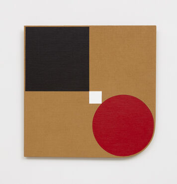 An abstract, hard-edged, irregularly-shaped painting on a linen with a rounded, lower right corner. The composition consists of a large black circle in the top left corner, a large red circle in the lower right corner, and a small white square in the center.