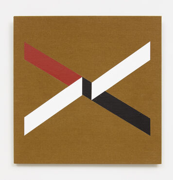 An abstract, hard-edged square painting on linen. The painting consists of two diagonal, white parallelograms, that connect at the center of the composition to another parallelogram crossed in an opposing direction. The latter parallelogram is red on the left side, and black on the right.