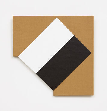 An abstract, hard-edged, irregularly-shaped painting on linen with a geometric cutout in the lower left edge. The composition consists of a white rectangle and black rectangle, that are connected to form a diamond.