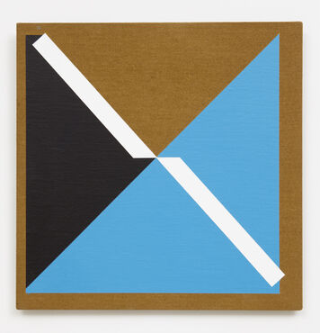 An abstract, hard-edged square painting on linen, consisting of a large light blue triangle, and a smaller black triangular form segmented by a small, diagonal, white quadrilateral. This quadrilateral is connected at angle to another diagonal, white quadrilateral.
