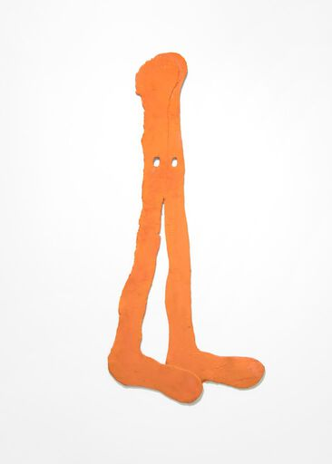 A wall piece consisting of two dangling, orange pieces of silicone that resemble elongated legs and feet. The two pieces of silicone are attached together at the top.
