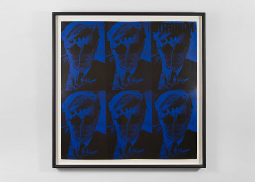 A blue-and-black image of Andy Warhol, repeated in a six part grid.
