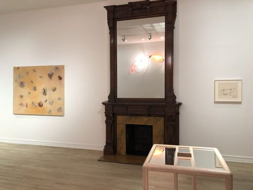 An installation view consisting of Joan Snyder's Flock Painting of Women, a Keith Sonnier study for the sculpture Neon Wrapping Incandescent, and Jackie Winsor's sculpture Pink and Blue Piece.