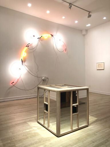 An installation view consisting of Keith Sonnier's sculpture Neon Wrapping Incandescent III, Jackie Winsor's sculpture Pink and Blue Piece, and a Kieth Sonnier study for the sculpture Neon Wrapping Incandescent.