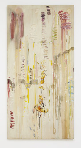 An abstract, vertical beige canvas consisting of thin, liquid oil drips and washes, and horizontal brushstrokes in warm tones of pink, ochre, violet, blue, and green.