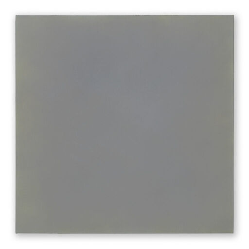 A primarily blue-grey monochrome square visible through subtle yellow-toned chromatic layers.