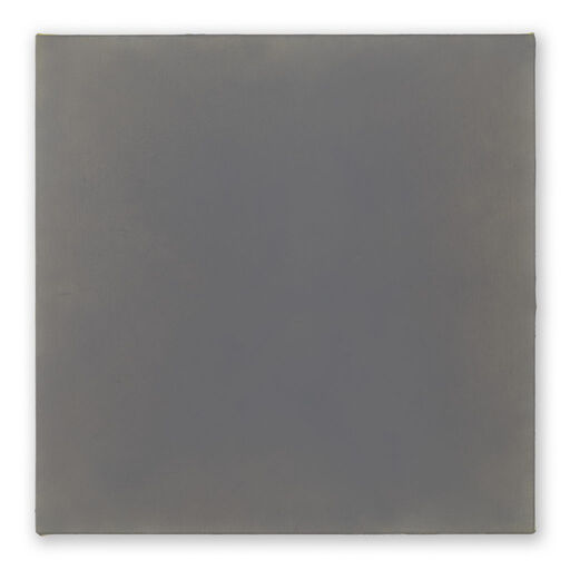 A primarily purple-grey monochrome square visible through subtle pink-toned chromatic layers.