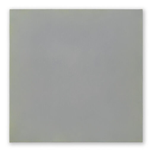 A primarily blue-grey monochrome square visible through subtle yellow and green-toned chromatic layers.