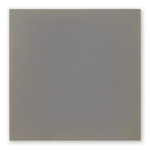 A primarily purple-grey monochrome square visible through subtle orange-toned chromatic layers.