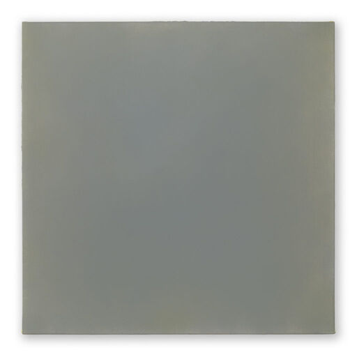 A primarily blue-grey monochrome square visible through subtle, pink-toned chromatic layers.