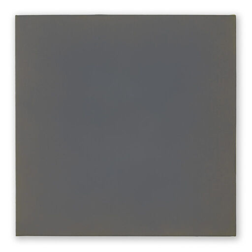 A primarily dark, blue-grey monochrome square visible through subtle orange-toned chromatic layers.