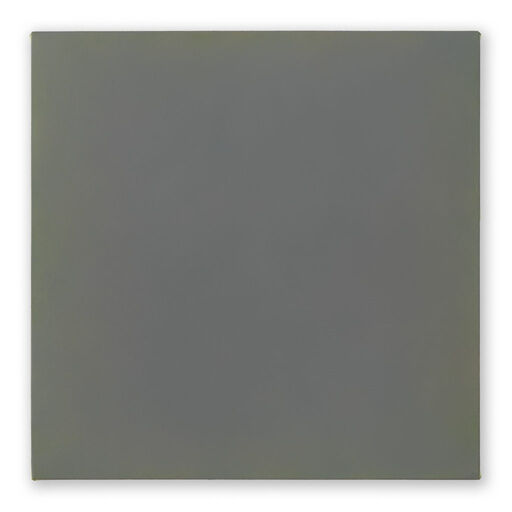 A primarily green-grey monochrome square visible through subtle yellow and purple-toned chromatic layers.