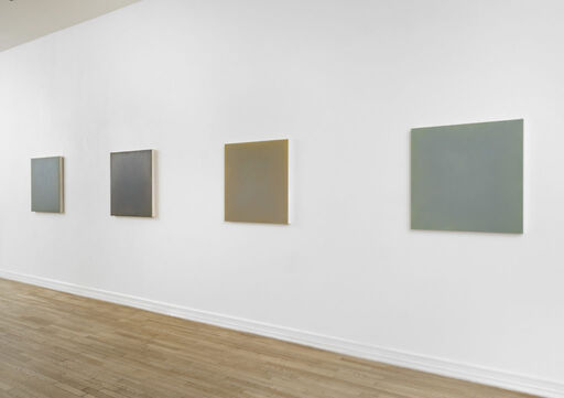 An installation view of First Light (Big World), First Light (Frost), First Light (New Moon), and First Light (Robin's Return), four square paintings by Anne Appleby.