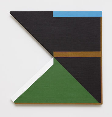An abstract, hard-edged, painting on linen with a large, triangular cutout on the left edge. The painting is primarily black, with a large green triangle in the bottom left of the composition, a light blue horizontal line in top right corner, a brown horizontal line in the center, and a white diagonal line bordering the triangular cutout.