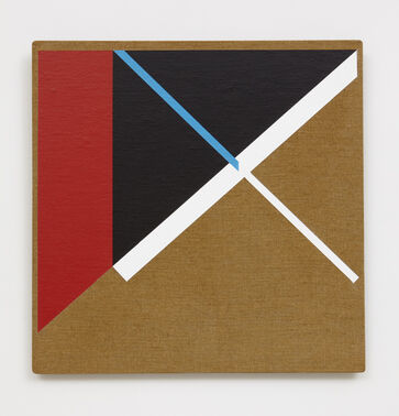 An abstract, hard-edged square painting on linen, consisting of a large black triangle, bordered by a red quadrilateral and a white line. The triangle is segmented by a diagonal blue line that abruptly shifts into a white line.