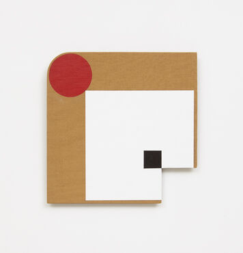 An abstract, hard-edged, painting with a small square cutout in the lower right corner, and a rounded edge in the top left corner. The composition consists of a large white square, with a small black square inside that connects at the corner to the cutout, and a red circle in the top left corner.