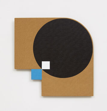 An abstract, hard-edged, painting on a linen with a geometric cutout in the bottom left of the composition, and a rounded top right edge. The composition is dominated by a large black circle, with a small, white square in the bottom left of the circle, connected at a diagonal to a blue square.