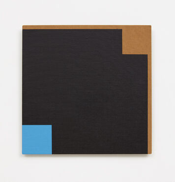 An abstract, hard-edged square painting on linen. The painting is primarily black, with a thin brown border on two edges, a blue square in the bottom left corner of the composition, and a brown square in the top right corner of the composition.