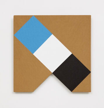 An abstract, hard-edged painting on linen with a small, triangular cutout in the bottom edge. The composition consists of a blue square, white square, and black square that are connected to form a diagonal rectangle.