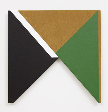 An abstract, hard-edged, painting on linen with a large, triangular cutout on the bottom edge. The composition consists of a large black triangle, green triangle, and brown triangle, that converge at the center. The black triangle has a white parallelogram painted over its top edge.