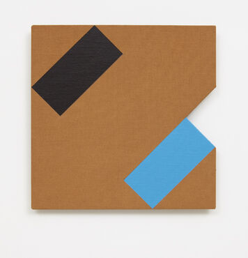 An abstract, hard-edged painting on linen with a small, triangular cutout on the right edge. The painting has a black rectangle and blue rectangle placed at angles in two corners of the composition.