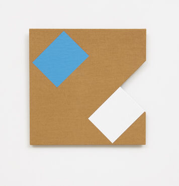 An abstract, hard-edged, painting on linen with a small triangular cutout on the right edge. The painting has a light blue rectangle and white rectangle placed at angles in the corner of the composition.