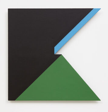An abstract, hard-edged, painting on linen with a large, irregularly-shaped, triangular cutout on the right edge. The painting is primarily black, with a large green triangle in the lower right of the composition, and a diagonal, light blue line in the top right corner.