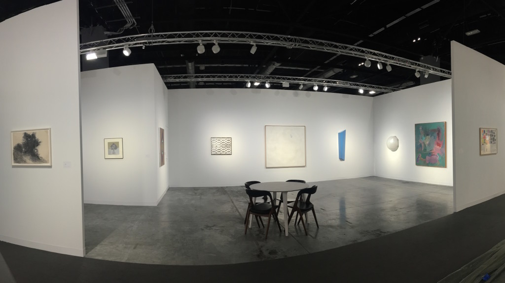 A panoramic installation view of the Franklin Parrasch Gallery booth at Art Basel Miami Beach 2016.