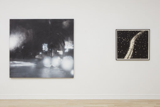 An installation view consisting of the large Peter Alexander painting Franklin, and the small Peter Alexander painting Azusa X.