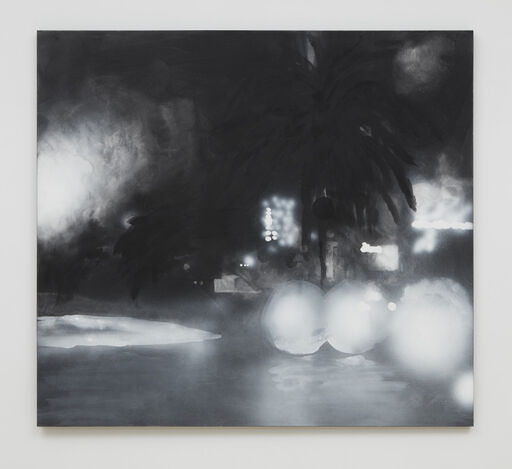 A grey, black, and white landscape painting consisting of a faint, black palm tree, positioned against blurry, illuminated buildings, and bordered by several large, white, emanating white spheres that resemble street lights.