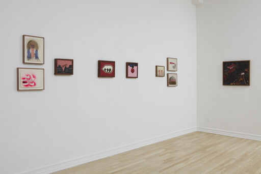 An installation view of five small, playful, colorful, abstract drawings by Joan Snyder, and four predominately pink, red, and black abstract paintings by Forrest Bess.