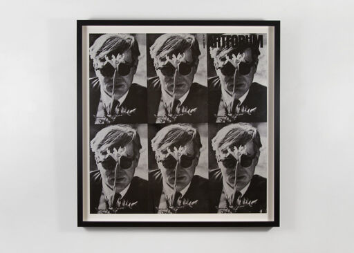 A black-and-white image of Andy Warhol, repeated in a six part grid.