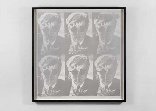 A grey-and-white, faded image of Andy Warhol, repeated in a six part grid.