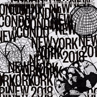 This grey-and-black image displays the Condo New York 2018 logo text, repeated and layered over a diagonal grid, and surrounded by drawings of globes, compases, and spheres.