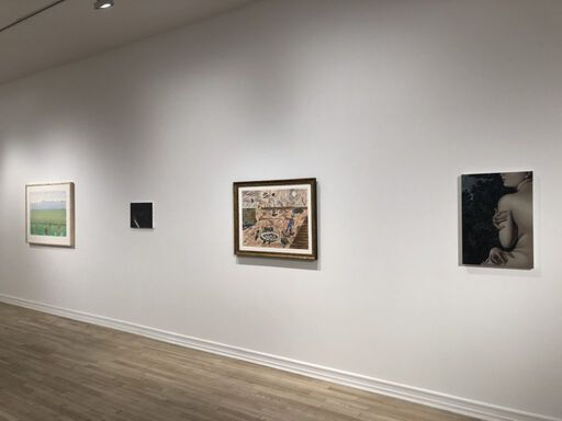 An installation view consisting of four two-dimensional works. From left to right, the works display a green landscape, a small black, indiscernible canvas, a dry desert landscape with a yellow house and windmill, and a portrait of a woman clutching her body against a dark backdrop of trees.