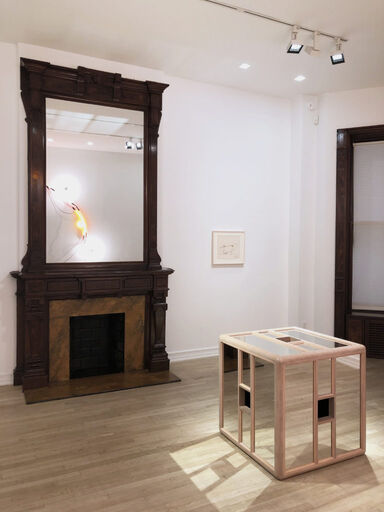 An installation view consisting of a Keith Sonnier study for the sculpture Neon Wrapping Incandescent, and Jackie Winsor's sculpture Pink and Blue Piece.