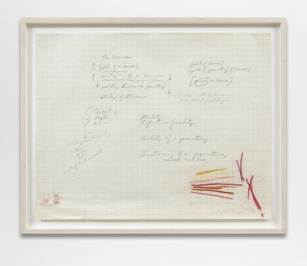 A framed, rectangular segment of graph paper with cursive, graphite writing and notes. The bottom corners of the piece consist of sketchy lines in shades of pink and ochre.