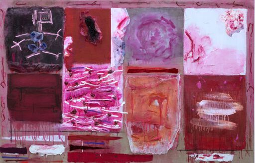An abstract painting consisting of eight rectangles rendered in shades of red, pink, orange, and white, arranged in a loose grid of two rows of four. The individual rectangles feature expressive drips and brushstrokes, and playful ornamental details such as rosebuds and torn cloth.